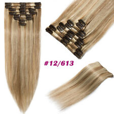 8pcs Clip In 100% Natural Real Remy Human Hair Extensions Full Head Mix Color US