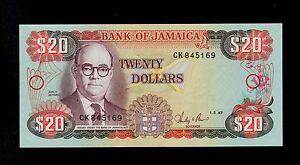 JAMAICA  20 DOLLARS 1987  CK PICK # 72b  UNC.