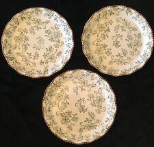 "New listing Set of 3 Temp-tations Tara Green Ivory Floral Lace Scalloped 8"" Salad Plates"