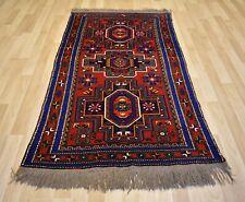 Antique Caucasian Azeri Kazak Geometric Handmade Rug 4 Ft X 8 Ft