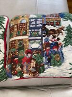 Christmas Throw  Wreath Pillows Vintage Village Suede Xmas Pillows 2 Needlepoint