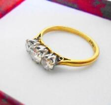 Antique 18ct GOLD & Diamond Three Stone Ring size J