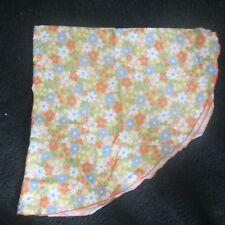 "Vintage Linen Tablecloth 66"" Round Retro Flowers--EUC"