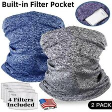 Neck Gaiter with Filter Face Mask Tube Neckerchief Balaclava Bandanna Headband