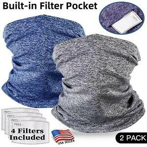 Neck Gaiter Face Mask with Filter - 2 Pack - Tube Neckerchief Balaclava Bandanna