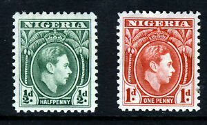 NIGERIA KG VI 1938 ½d. Green & 1d. Carmine Perf.12 SG 49 & SG 50 MINT