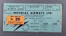 IMPERIAL AIRWAYS USED VINTAGE AIRLINE TICKET LONDON-PARIS 1937