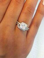 Diamond Princess Cushion Square Engagement Ring Set Wedding Band 925 Silver