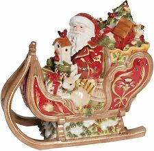 Fitz and Floyd Damask Holiday Ceramic Sleigh Cookie Jar Christmas Collection
