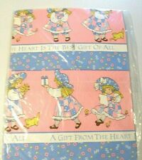 Vtg 1989 American Greetings HOLLY HOBBIE Pink Blue Gift Wrap Art Craft 30x 40 in