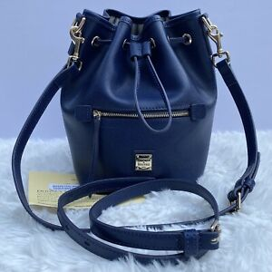 Dooney & Bourke Saffiano Small Drawstring Crossbody Bag Purse Bucket Navy Blue