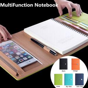 A5 Notebook School Business Office Notepad w/ Phone Packet/Pen Holder/Ca