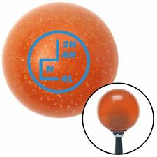 Blue Transfer Case #5 Orange Metal Flake Shift Knob with 16mm x 1.5 Insert