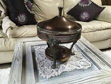 New ListingVintage Leonard Silver Co Copper Chafing Dish Food Warmer w/Anchor Hocking Dish