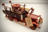 Fire Engine Vintage Tin Plate Giftware Cars Planes Retro Gift Display