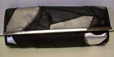 Bonita Black & Metallic Gray Patchwork Genuine Leather Handbag Clutch Purse