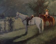 Horse Cowboy Rodeo Moonlight night oil painting by Margaret Aycock Oklahoma