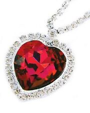 Titanic Ruby Red Crystal Heart Necklace Pendant Heart of the Ocean Gift Jewelry