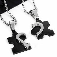 Men Women Couple Stainless Steel Love Heart Chain Puzzle Pendant Necklace CCE23