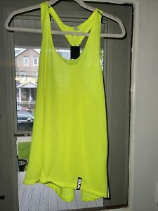 under armour heat gear neon yellow jersey racerback run tank top size xl
