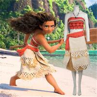 Hot Moana Princess Vaiana  Fancy Dress Principessa Cosplay Costume No Necklace