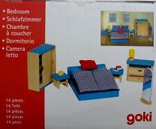 Goki 51906 Puppenhaus Schlafzimmer 14 teilig Holz Neu (Verpackungsschaden)