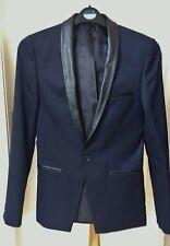 Topman Skinny Fit Veste de Smoking Bleu Marine Blazer En Cuir Synthétique Col Homme Taille XS