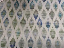 "Berlin IKat  Soft Velvet Teal Grey 140cm/54"" Curtain/Upholstery/Craft Fabric"