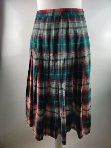 Vintage Women Skirt Tartan Check Print Wool Blend Pleated Blogger High Waist 10