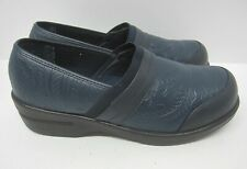 Easy Street Womens Size 10M Clogs Comfort Shoes Tooled Navy Blue Slip On Origin
