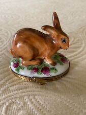 Lovely! Porcelain Handpainted Brown Rabbit Limoges Box from Paris