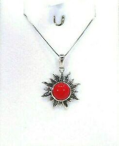Created Red Coral Solid Sterling Silver Sun Ray Inspired Italian Necklace