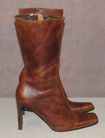 Steve Madden Tall Brown Leather Fashion Boots Women's Size 8.5 B Made in Brazil