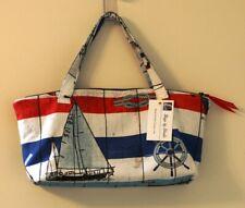 Women's Nautical Travel Bag Handbag Fabric by Vilber Sailboats Hand Made in USA