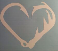 White Vinyl Fishing Hook Whitetail Antler Heart Live To Fish And Hunt Car Truck