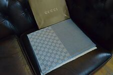 Brand New NWT Authentic Gucci Logo Scarf Gray Blue Navy 100% Wool Italy