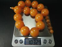 FRENCH  ART DECO BUTTERSCOTCH AMBER BAKELITE NECKLACE POLISH ROUND BEADS-103g.