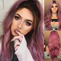 Fashion Women Long Brown Wig Black Pink Ombre Wavy Hair Rose Net Hairstyle