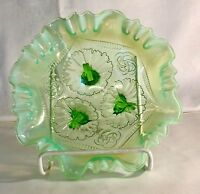 Jefferson Glass Green Opalescent Ruffles And Rings Bowl