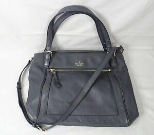 KATE SPADE Gray Pebble Leather Crossbody Handbag Satchel 15 x 11.5 - List $425