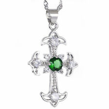 Melina Jewelry Melina Cross Cut Green Emerald Silver Tone Pendant Necklace Nr