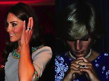 3Ct D/VVS1 & Sapphire Oval Cut 14k White Gold kate Middleton Style Wedding Ring