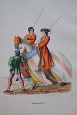 GRAVURE-ENTREE JUGES DISEURS CHEVALERIE TOURNOI-COSTUMES MOYEN AGE 1847- PRINT