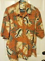 Banana Cabana Men's 100% Silk Button Down Hawaiian Floral Shirt  XL