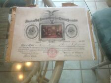 BETSY ROSS MEMORIAL ASSOCIATION CERTIFICATE ISSUED 1921