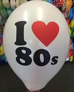 10 X Quality I ❤️ 80's Helium Balloons Retro Neon Party Love 1980's Decoration
