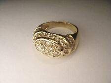 Magnificent Estate 14K Yellow Gold Diamond Designer Tiered Dome Band Ring