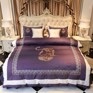 Egyptian Cotton Tiger Embroidered Luxury Purple Bedding Set 4/6Pcs Bed Sheet New