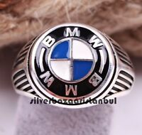 Turkish 925 Sterling Silver BMW Car Design No Stone Mens Mans ring ALL SİZE USA