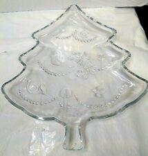 "Christmas Tree Cookie Plate 12"" Glass"